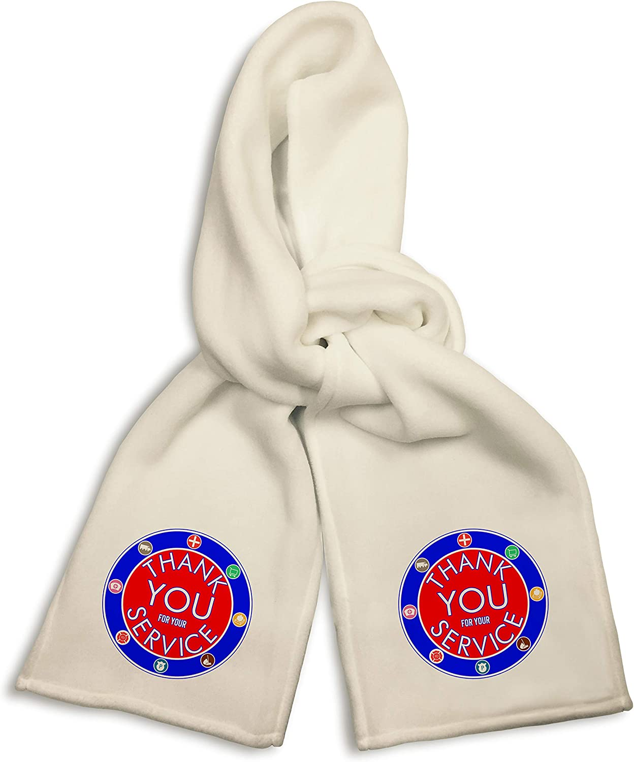 White Winter Scarf - Thank You for Your Service Public Servant Workers Appreciation