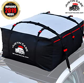 JUSTINCASE Rooftop Cargo Carrier - Car Top Carrier – Roof Bag -19 Cubic Feet – Heavy Duty, Waterproof Bag for Extra Car Roof Storage – Straps & Hooks Included, Works Without Roof Rack or Side Rails