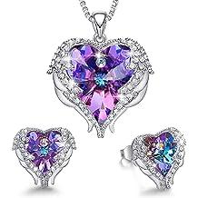 9921222219bc CDE Jewelry Set for Women Angel Wing Swarovski Crystal Pendant Necklace  Heart of Ocean Stud Earrings