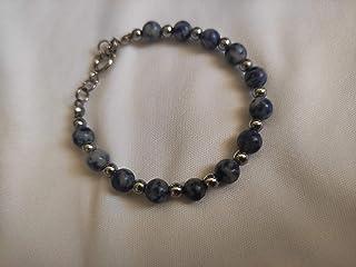 Bracciale con pietre naturali di agata nei toni dell'azzurro sfumato
