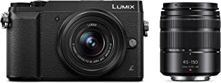 PANASONIC LUMIX GX85 Camera with 12-32mm and 45-150mm Lens Bundle, 4K, 5 Axis Body Stabilization, 3 Inch Tilt and Touch Display, DMC-GX85WK (Black USA) (Renewed)