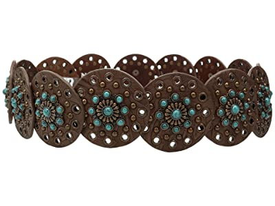 M&F Western Nocona Wide Concho Disk Belt (Brown/Turquoise) Women