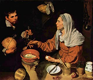 Home Comforts Peel-n-Stick Poster of Velázquez, Diego - an Old Woman Frying Eggs (The Old Cook) Vivid Imagery Poster 24 x 16 Adhesive Sticker Poster Print