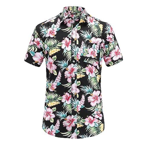 69789198 JEETOO Men's Casual Flower Print Short Sleeve Button Down Hawaiian Aloha  Shirt