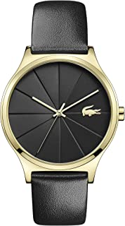 Lacoste Women's Nikita Quartz Yellow Gold IP and Leather Strap Strap Casual Watch, Color: Black (Model: 2001041)
