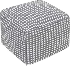 HIGOGOGO Boho Pouf Cover, Unstuffed Checkered Pattern Ottoman Square Handwoven Footstool with Zipper, Unfilled Braided Floor Pouf Cushion for Living Room Bedroom Home, Grey, 16.5