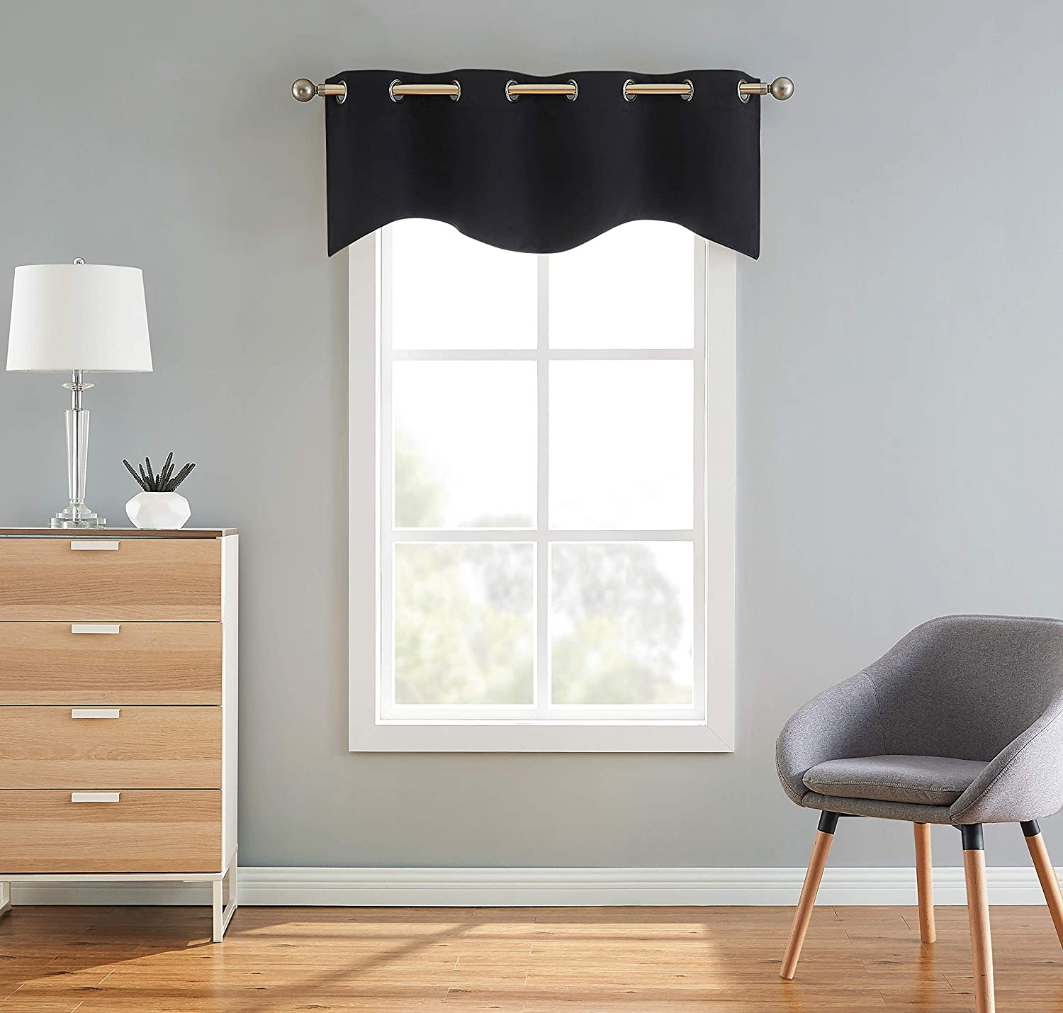 Linenzone Scalloped Valance Curtain Panel Premium Grommet Blackout Drape 54 Inch Wide X 18 Inches Long Solid Thermal Insulated Draperies 1 Scalloped Valance 54 X 18 Black Home Kitchen Amazon Com