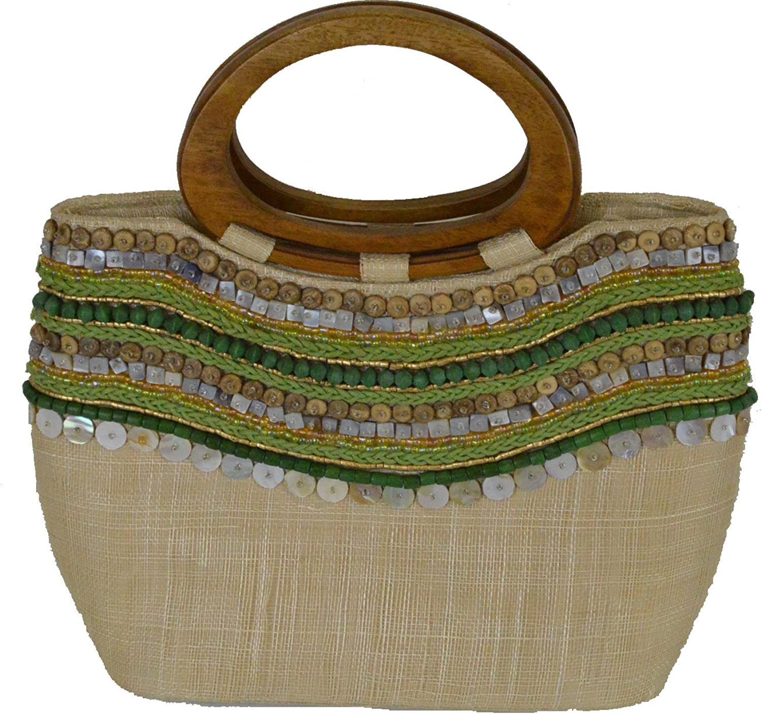13 L Bali Natural Green Small ToteStyle Handbag with Bead and Seashell Inlay and Wood Double Handles