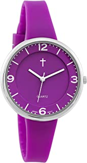 Belief Unisex | Silver-Tone and Purple Resin Easy Reader Watch with Cross | BF9659PR