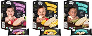 Nosh Baby Munchable Teethers Organic Rice Teething Wafers, 26 Piece, Sampler Pack (Pack of 3)