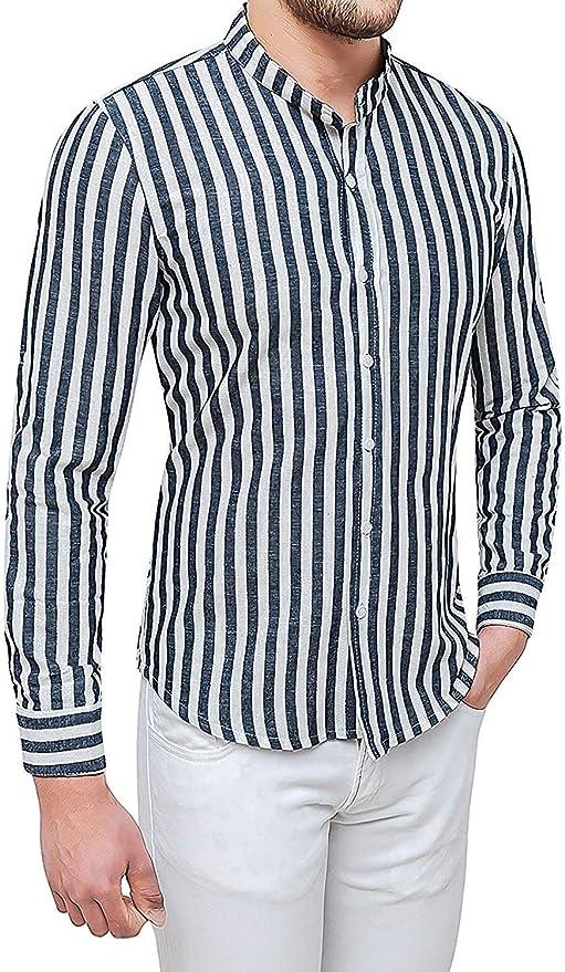 Evoga - Camisa de Lino para Hombre, Color Blanco y Negro ...