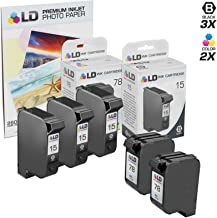 LD Remanufactured Ink Cartridge Replacements for HP 15 & HP 78 (3 Black, 2 Color, 5-Pack)