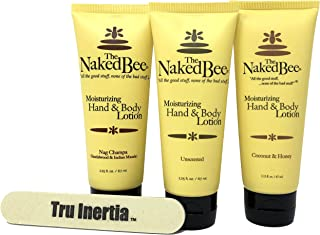 The Naked Bee Travel Size Hand & Body Lotion Variety Pack – 2.25 Oz. Pack of 3 – Coconut & Honey, Nag Champa, Unscented with Tru Inertia Nail File