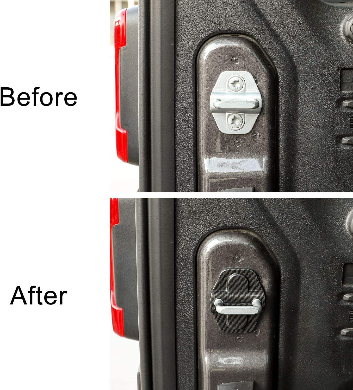 Voodonala for Jeep JL ABS Carbon Fiber Door Lock Covers Protection Trim for 2018-2020 Jeep Wrangler JL JLU Gladiator JT 6PCS