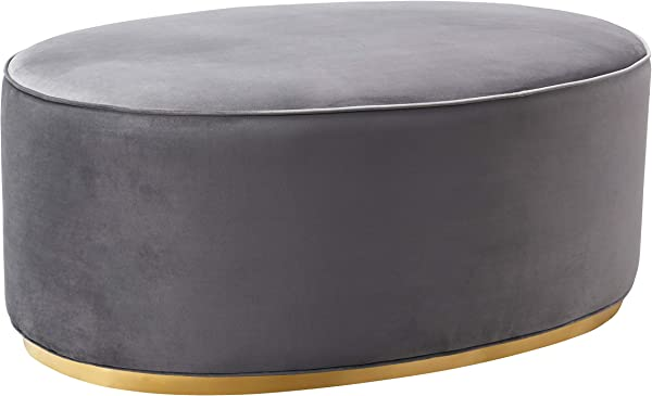 TOV Furniture TOV OC7225 The Scarlett Collection Modern Velvet Upholstered Oval Ottoman Gray