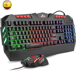 Rii RK900+ Teclado Gaming con sensibilidad mecánica Completo,Combo de Teclado y ratón con Cable,Diseño Gaming Multicolor retroiluminado,Especial para Gamers.