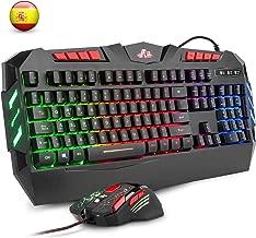Rii RK900+ Teclado con sensibilidad mecánica Completo,Combo de Teclado y ratón con Cable,Diseño Gaming retroiluminado,Especial para Gamers.