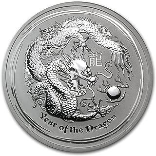 2012 AU Australia 5 oz Silver Year of the Dragon BU Silver Brilliant Uncirculated