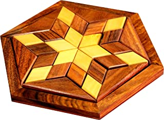 Stonkraft Wooden Rosewood Small Wooden 30-Piece Star Jigsaw/Tangram Puzzle Board