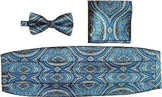 Mens Matching Paisley Pocket Square Bow Tie and Cummerbund Set