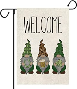 Loccie Welcome St Patrick's Day Garden Flag Vertical Double Sided, Gnome Horseshoe Beer Shamrock Leopard Yard Outdoor Decoration 12 x 18 Inch(Welcome)