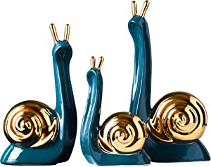 MAYIAHO Modern Statues for Home Decor Ceramic Sculptures Small Animal Figurines Shelf Table Top Bookshelf Living Room Accents Clearance Items Rustic Knick Knacks Art Objects Snail Christmas(Green)