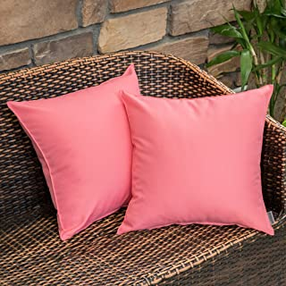 MIULEE Pack of 2 Decorative Outdoor Waterproof Pillow Cover Square Garden Cushion Case PU Coating Throw Pillow Cover Shell for Tent Park Couch 18x18 Inch Pink