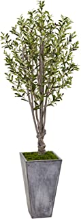 Nearly Natural 6' Olive Artificial Tree in Stone Planter, Green