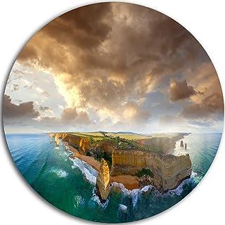 Designart Ocean Road Australia Blue Seascape Circle Wall Art-Disc of 23, 23'' H x 23'' W x 1'' D 1P