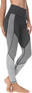 Women Workout Leggings Color Blocking Mid-Waist Running Tights 8031