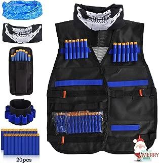 LOYO Kids Tactical Vest, Adjustable Tactical Vest Jacket Kit for Nerf Toy Gun N-Strike Elite Series with 20Pcs Soft Foam Darts Bullets, 2Pcs Seamless Face Masks & 1Pcs 8-Dart Wrist Band