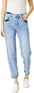 Miss Chase Women's Light Blue Wide-Leg High Rise Denim Jeans