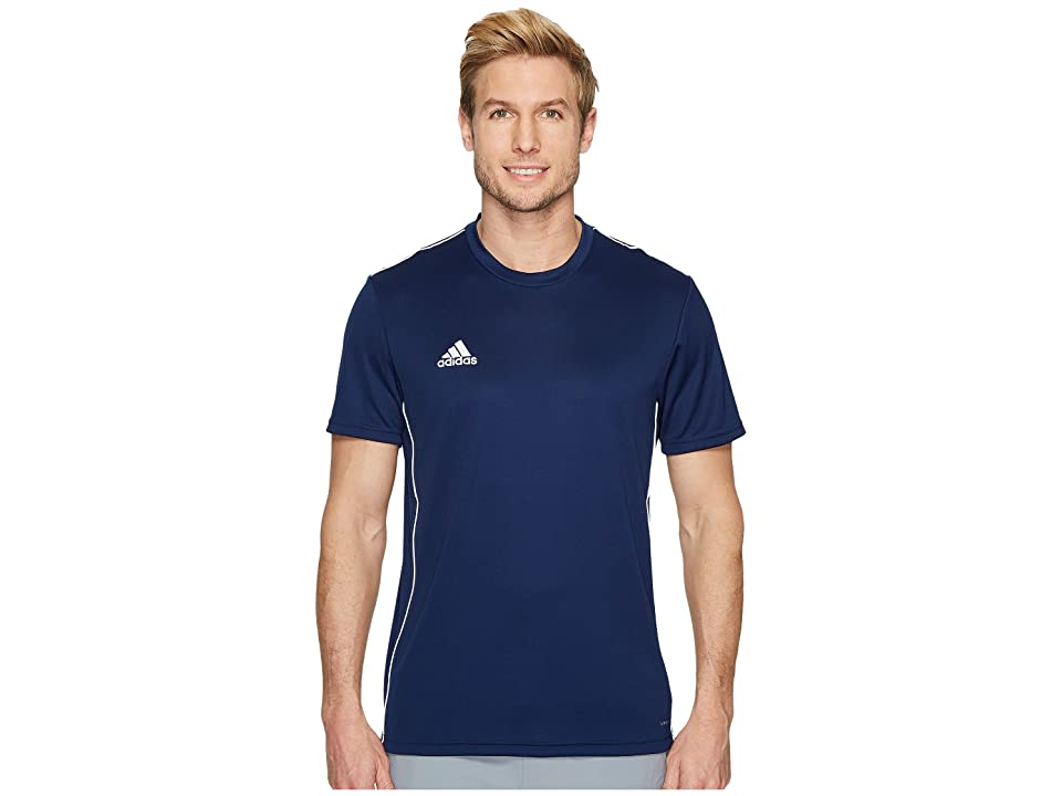 Work or play smart in the adidas Core18 Training Jersey. CLIMALITE material wicks moisture away from the skin to keep you cool and dry. Anti-odor treatments provide permanent odor protection by inhibiting the growth of bacteria and mildew in the fabric. Crew neckline. Short sleeves. Straight hemline. 100% polyester. Machine wash warm  do not tumble dry. Imported. Measurements: Length: 29 in Product measurements were taken using size MD. Please note that measurements may vary by size.