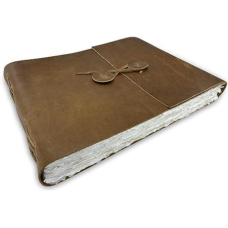 Journal de Scrapbooking Aquarelle en Cuir Wanderings - Grand Album en Cuir Véritable Avec Papier de Bord Deckle Fait à la Main pour Albums, Aquarelle, Albums - 25.4x31.75cm - 350 g