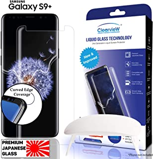 Clearview Samsung Galaxy S9 Plus Liquid Tempered Glass Screen Protector - 9H Ultra Clear HD Japanese Glass, Full Screen Edge Coverage, Easy Install, Loca UV Light, Case Friendly (S9+ Full Kit)