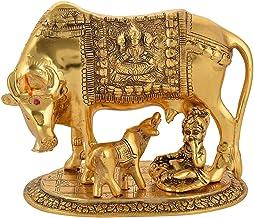 CHHARIYA CRAFTS Oxidized Metal Krishna with Religious Kamdhenu Cow with Calf Handmade Handicraft for Home Decor Gift Item