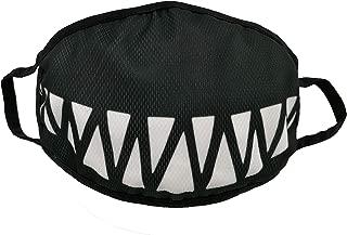 Fangs Smiling Black Anti Dust Anime Mouth Mask, Cute Unisex Face Mask For Kids Teens Men Women Halloween