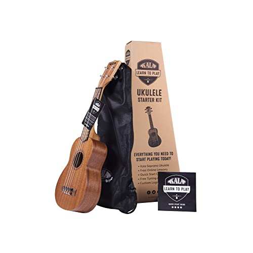 Official Kala Learn to Play Ukulele Soprano Starter Kit, Satin Mahogany – Includes online lessons