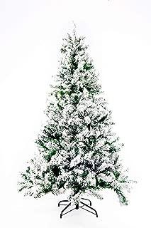 GOJOOASIS 6' Artificial Christmas Tree Snow Flocked Eco-Friendly Xmas Pine Tree Hinged with Metal Stand