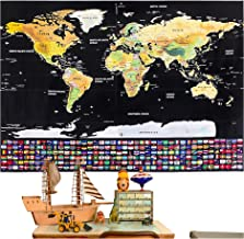 Rabbitgoo Scratch Off World Map Poster with Country and Region Flags, World Travel Tracker Map Wall Map Decoration Gift fo...