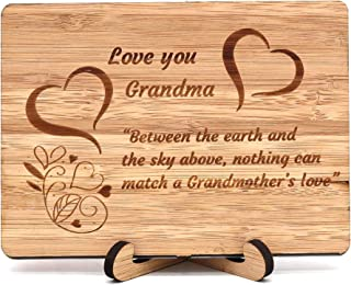 Zuaart Mothers Day Handmade Greeting Card Love You Grandma With Bamboo Wooden and Stand - Between the earth and the sky above, nothing can match a Grandmother's love - Mother's Day gifts Anniversary