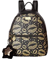 Luv Betsey - Dana PVC Backpack with Gold Glitter Lips