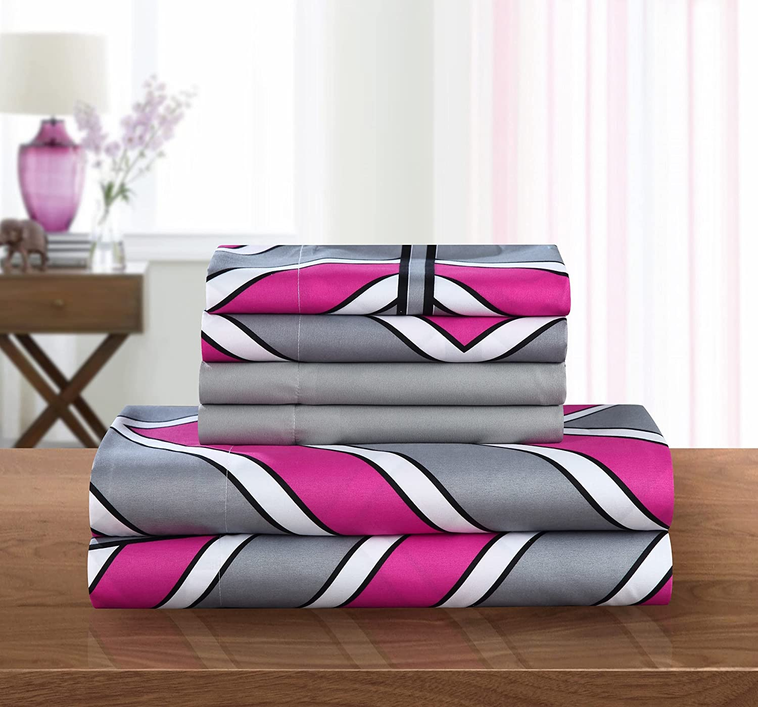 Chic Home 6 Limited time trial price Piece Ariel Ranking TOP16 Chevron Pattern Bonus 2 Set P with Sheet