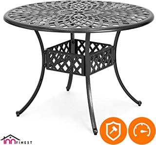 42″ Patio Bistro Dining Table - Cast Aluminum Umbrella Hole Table - Rust Resistant Lattice Weave Design - for Outdoor Furniture Patio Deck Garden - Optional Add-on 4 Chairs for 5 Piece Set (Black)