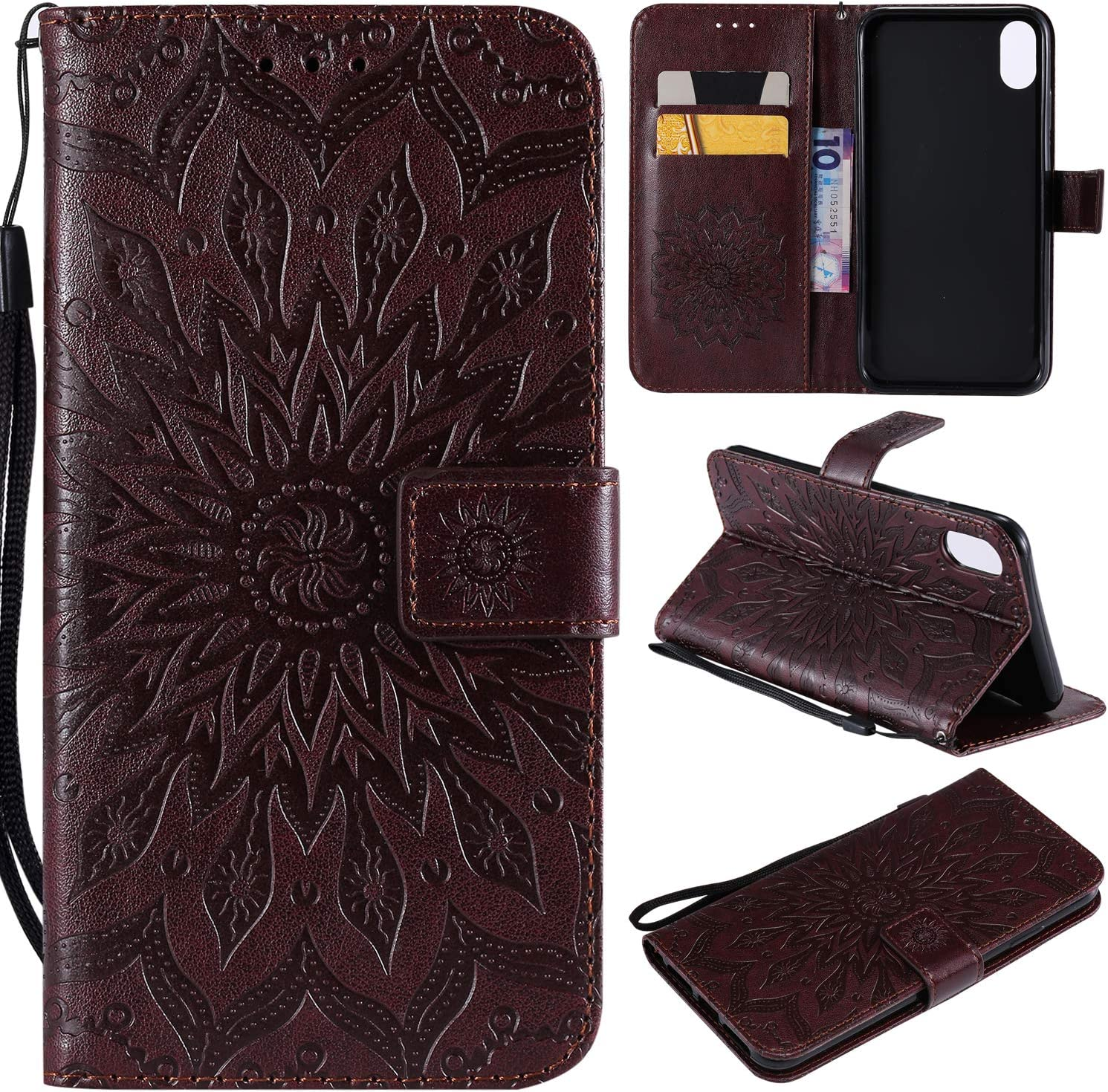 iPhone XS MAX Case,iPhone XS MAX Wallet Case,iPhone XS MAX Filp Case,Sun Flower Embossed PU Leather Magnetic Card Holders Hand Strap TPU Inner Bumper Purse Case for iPhone XS MAX 6.5 Inch Brown
