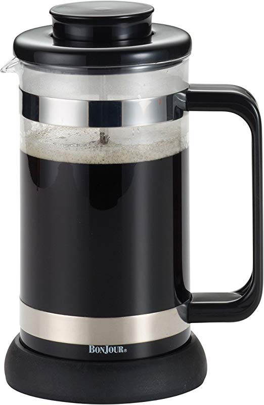 BonJour Coffee Borosilicate Glass French Press With Coaster Scoop 33 8 Ounce Riviera Black