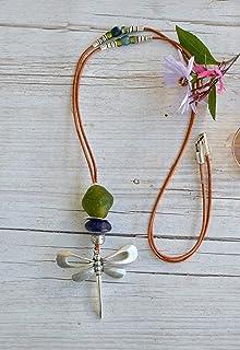 Lunga collana donna con libellula argento e cuoio, gioiello moderno