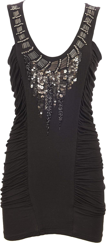 Designer Dress Miss Me Women's Black Sexy Top Metallic Studs Sleeveless Open Back Stretch