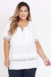 Beme Short Sleeve Lace Panelled Top - Womens Plus Size Curvy