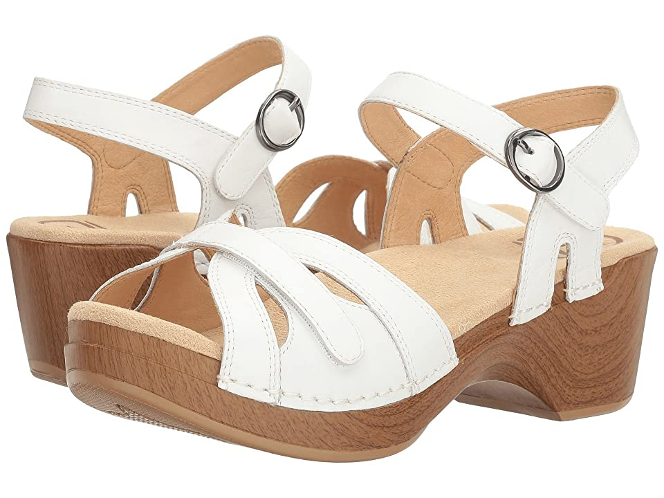 Vintage Sandal History: Retro 1920s to 1970s Sandals Dansko Season White Full Grain Womens  Shoes $119.95 AT vintagedancer.com
